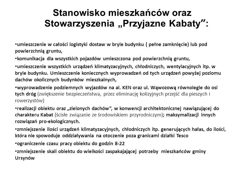 Stanowisko mieszkańców oraz Stowarzyszenia Przyjazne Kabaty: umieszczenie w całości logistyki dostaw w bryle budynku ( pełne zamknięcie) lub pod powie