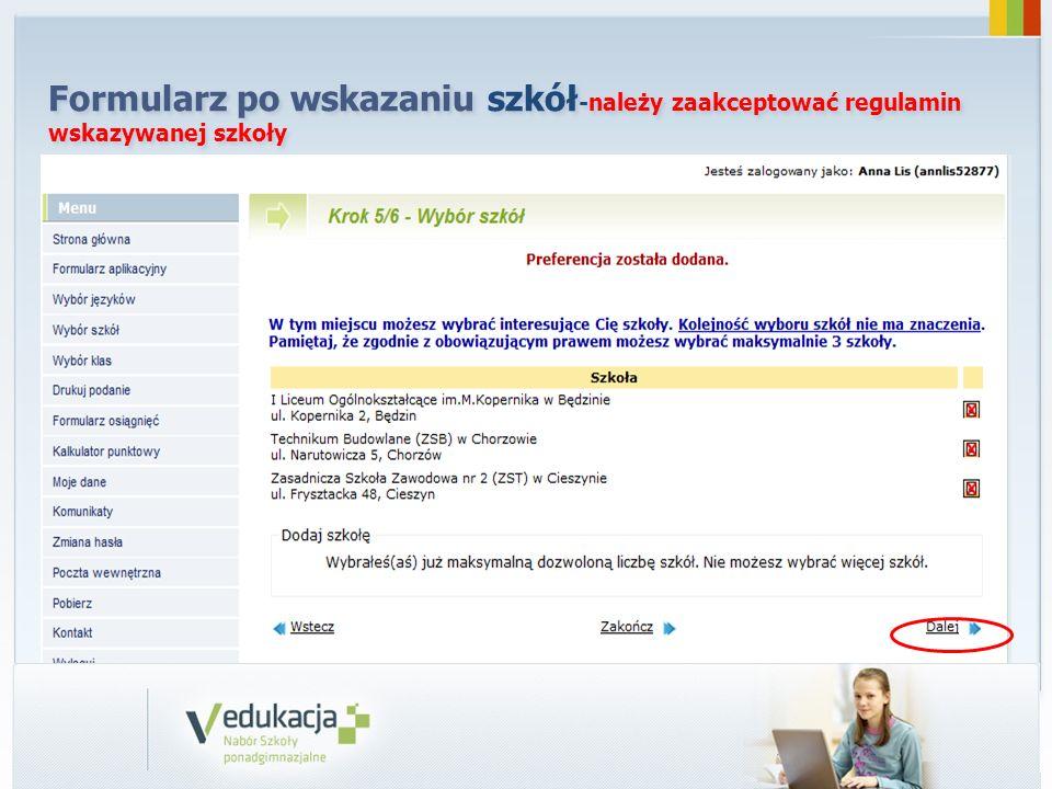 Formularz po wskazaniu szkół -należy zaakceptować regulamin wskazywanej szkoły