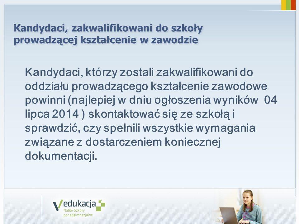 Ogłoszenie listy kandydatów przyjętych i nieprzyjętych do szkoły następuje zgodnie z decyzją kuratora w dniu: 09.07.2014 r.