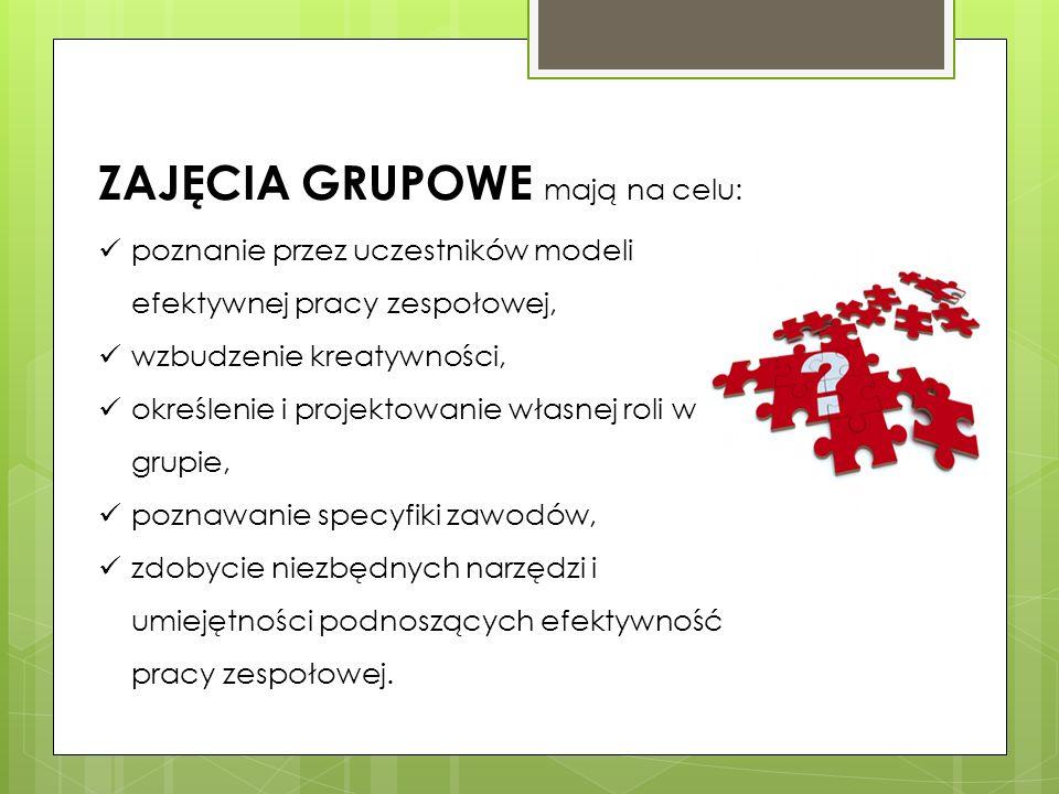 ZAJĘCIA GRUPOWE mają na celu: poznanie przez uczestników modeli efektywnej pracy zespołowej, wzbudzenie kreatywności, określenie i projektowanie własn