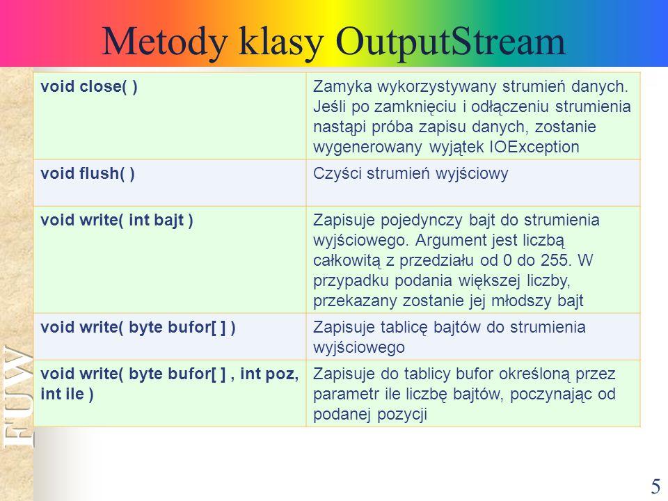5 Metody klasy OutputStream void close( )Zamyka wykorzystywany strumień danych.