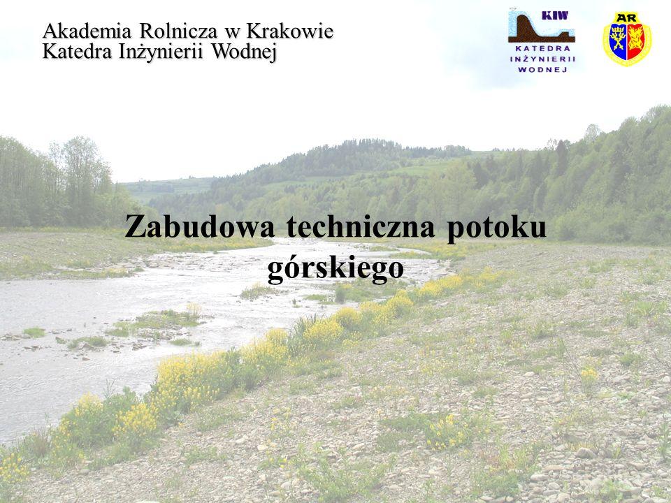 Zabudowa techniczna potoku górskiego Akademia Rolnicza w Krakowie Katedra Inżynierii Wodnej