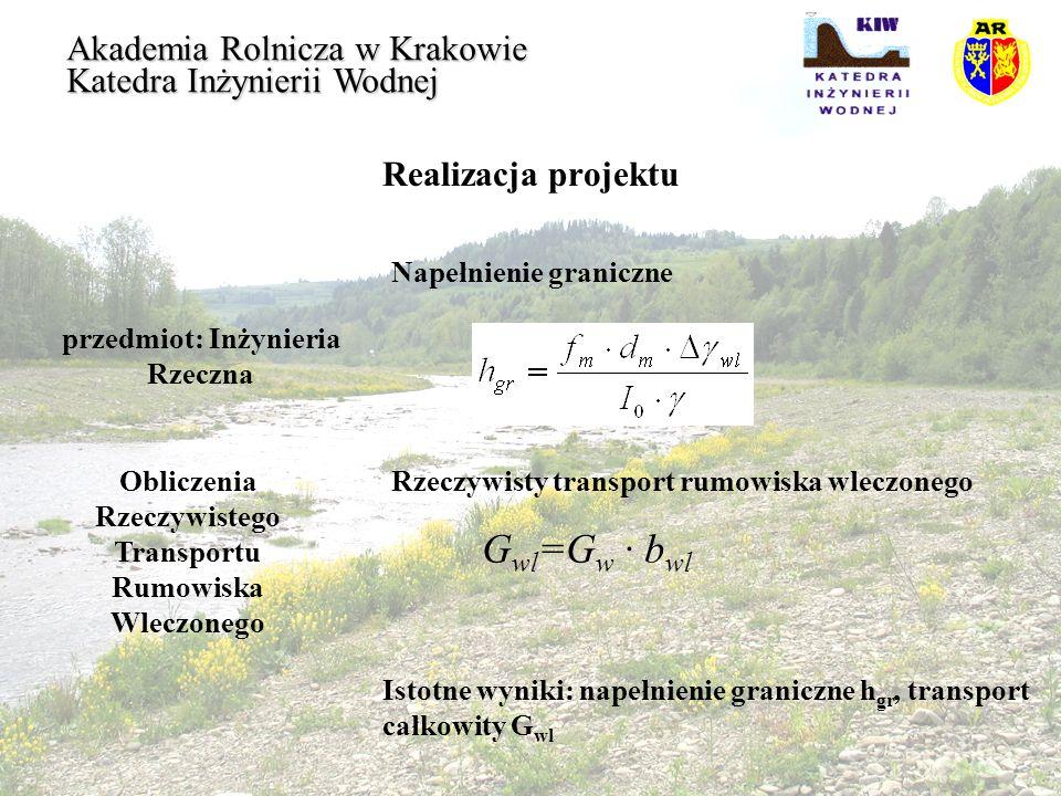 Realizacja projektu przedmiot: Inżynieria Rzeczna Akademia Rolnicza w Krakowie Katedra Inżynierii Wodnej Obliczenia Rzeczywistego Transportu Rumowiska