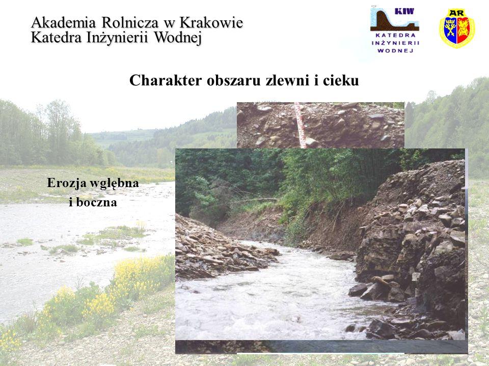 Charakter obszaru zlewni i cieku Erozja wgłębna i boczna Akademia Rolnicza w Krakowie Katedra Inżynierii Wodnej