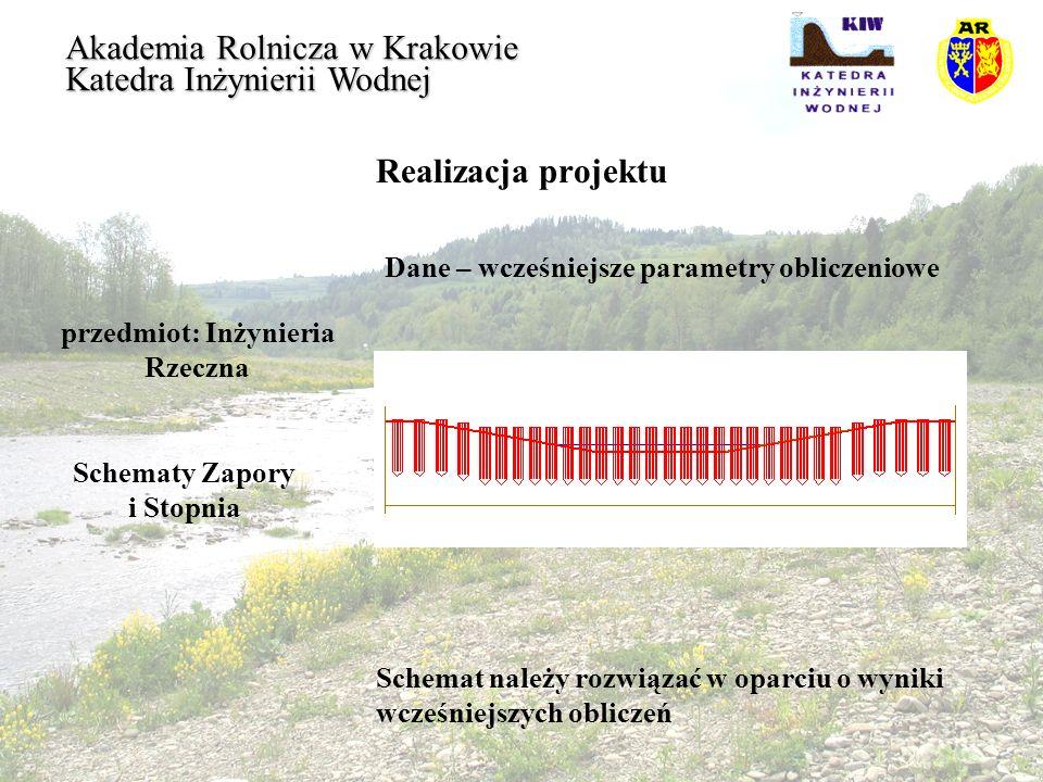 Realizacja projektu przedmiot: Inżynieria Rzeczna Akademia Rolnicza w Krakowie Katedra Inżynierii Wodnej Schematy Zapory i Stopnia Schemat należy rozw