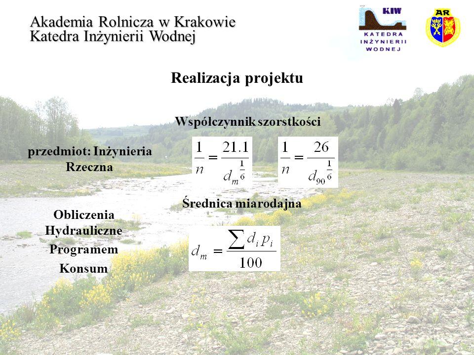 Realizacja projektu przedmiot: Inżynieria Rzeczna Akademia Rolnicza w Krakowie Katedra Inżynierii Wodnej Obliczenia Hydrauliczne Programem Konsum Wspó