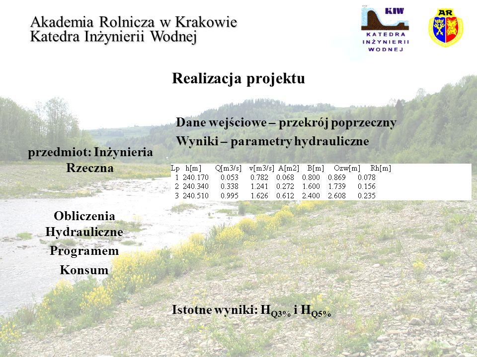 Realizacja projektu przedmiot: Inżynieria Rzeczna Akademia Rolnicza w Krakowie Katedra Inżynierii Wodnej Obliczenia Hydrauliczne Programem Konsum Isto