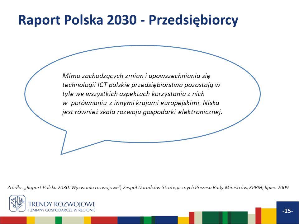 Raport Polska 2030 - Przedsiębiorcy -15- Mimo zachodzących zmian i upowszechniania się technologii ICT polskie przedsiębiorstwa pozostają w tyle we ws