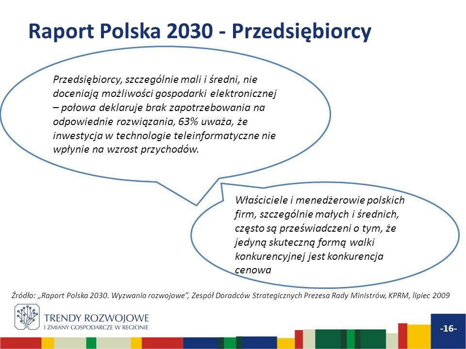 Raport Polska 2030 - Przedsiębiorcy -16- Przedsiębiorcy, szczególnie mali i średni, nie doceniają możliwości gospodarki elektronicznej – połowa deklar