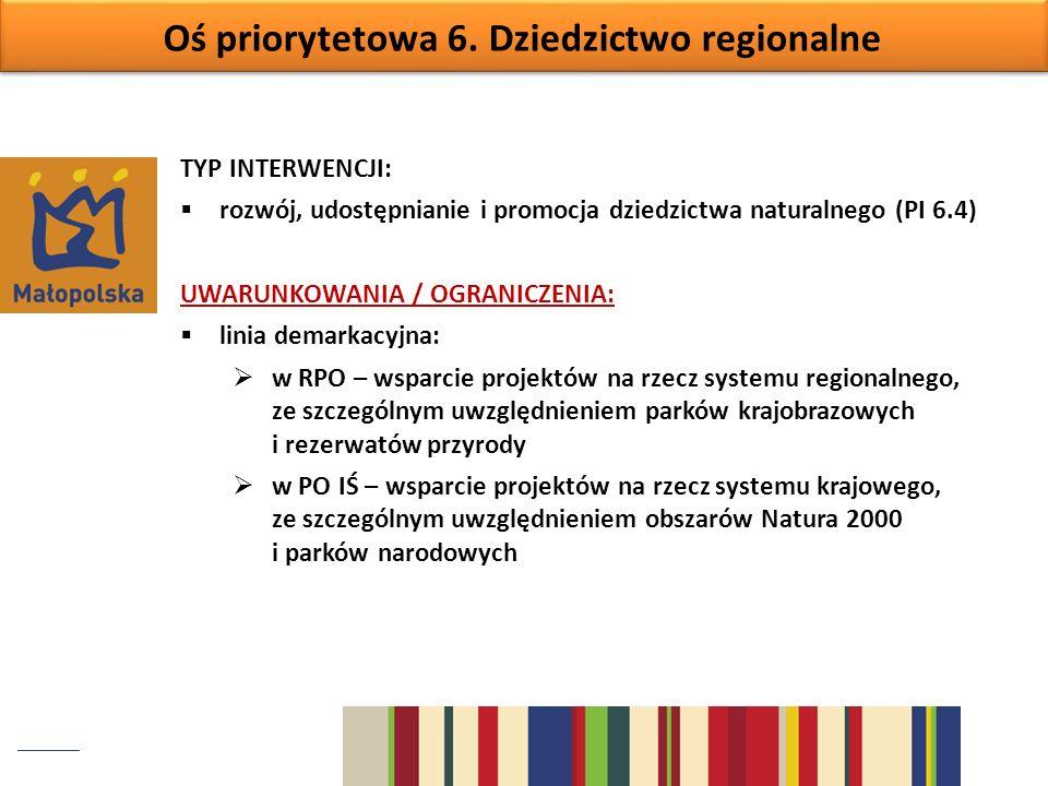 Oś priorytetowa 6. Dziedzictwo regionalne TYP INTERWENCJI: rozwój, udostępnianie i promocja dziedzictwa naturalnego (PI 6.4) UWARUNKOWANIA / OGRANICZE