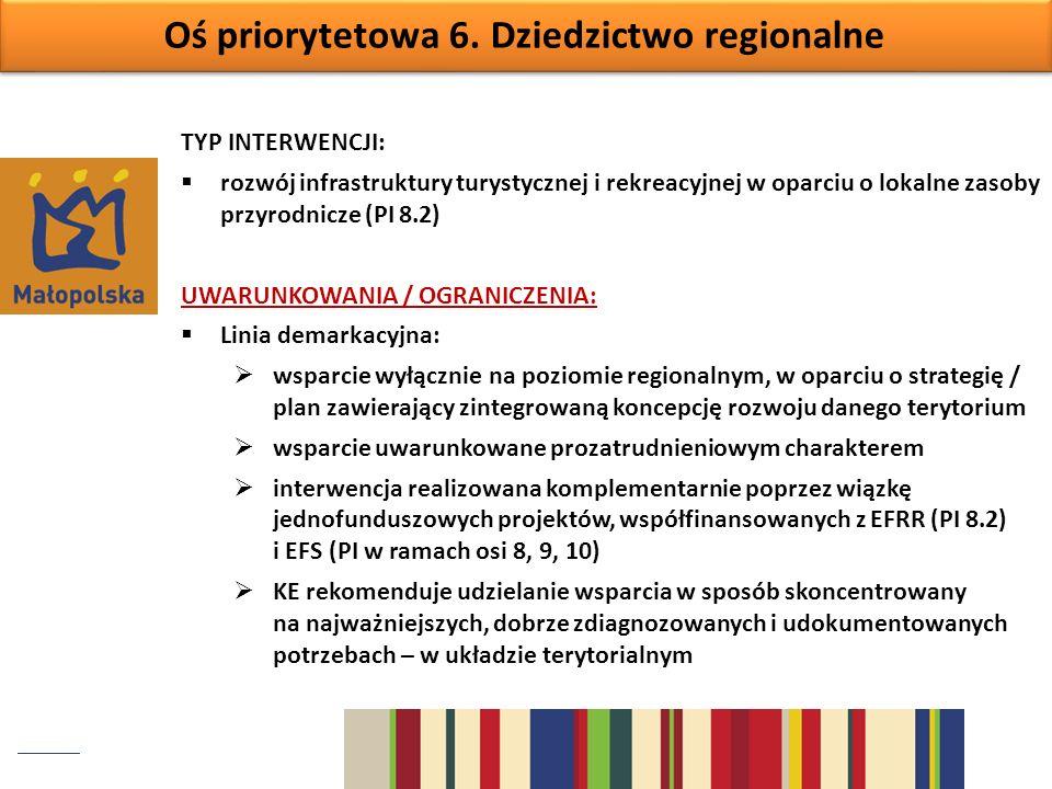 Oś priorytetowa 6. Dziedzictwo regionalne TYP INTERWENCJI: rozwój infrastruktury turystycznej i rekreacyjnej w oparciu o lokalne zasoby przyrodnicze (