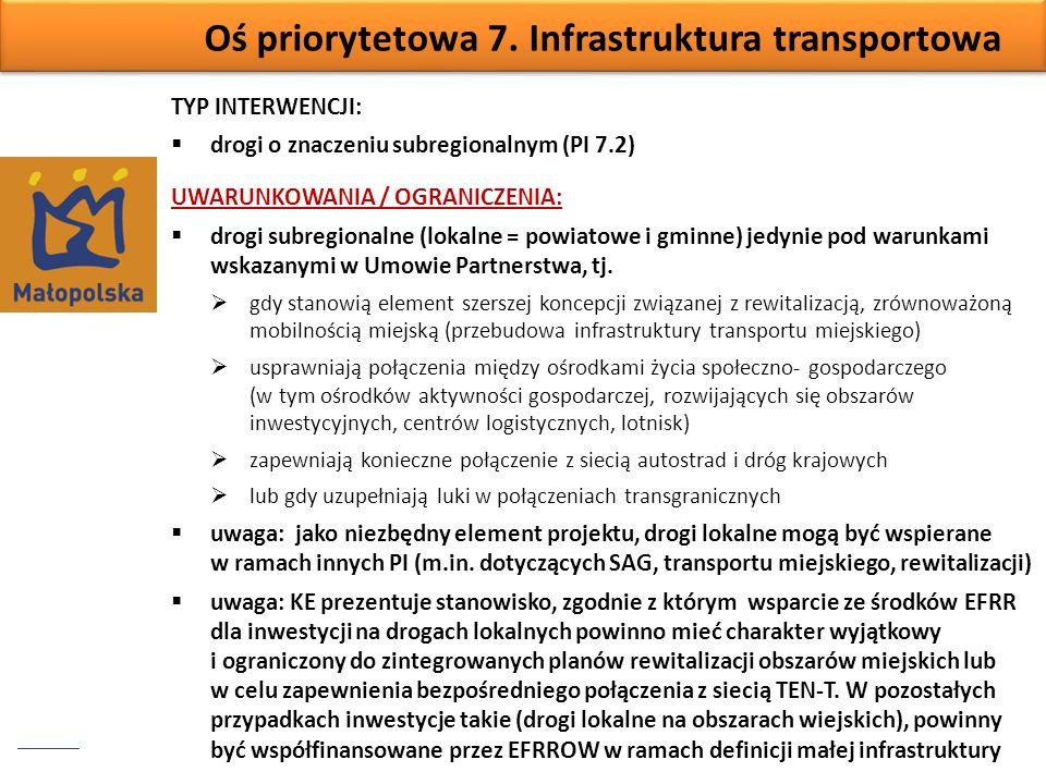 Oś priorytetowa 7. Infrastruktura transportowa TYP INTERWENCJI: drogi o znaczeniu subregionalnym (PI 7.2) UWARUNKOWANIA / OGRANICZENIA: drogi subregio