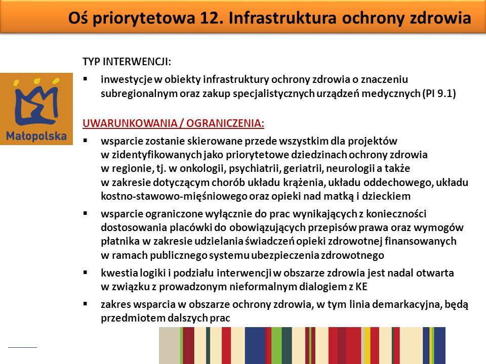 Oś priorytetowa 12. Infrastruktura ochrony zdrowia TYP INTERWENCJI: inwestycje w obiekty infrastruktury ochrony zdrowia o znaczeniu subregionalnym ora