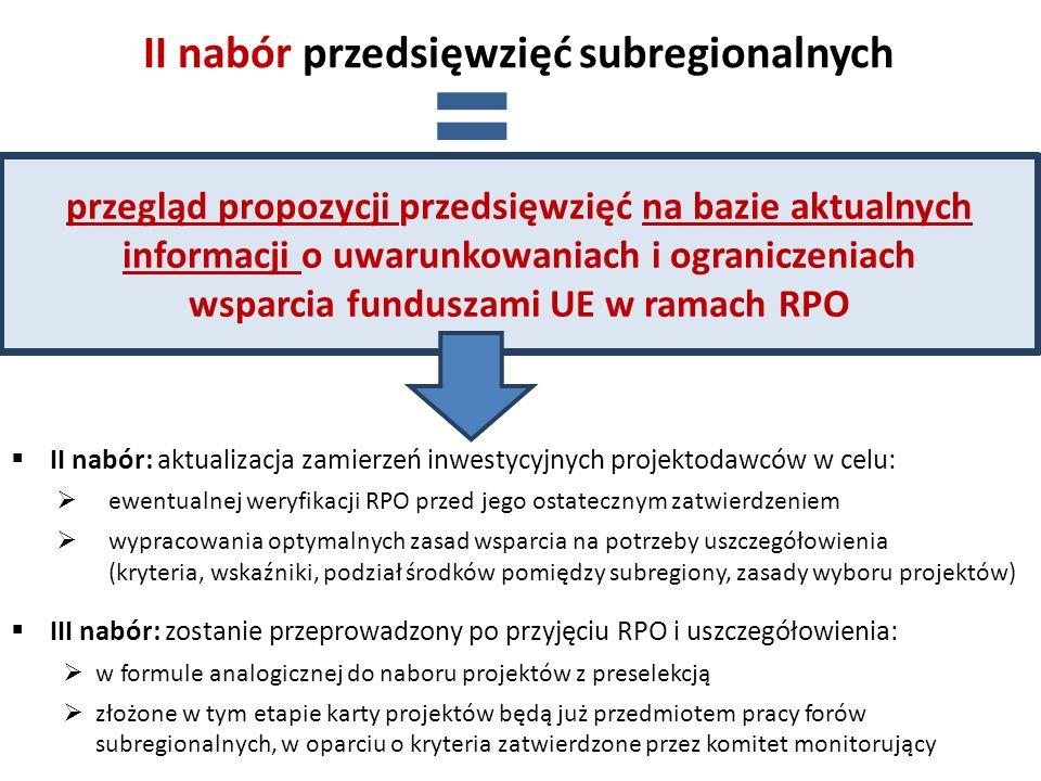 (1) określenie popytu na projekty planowane do wdrażania w ścieżce subregionalnej, co ma istotne znaczenie ze względu na: dezaktualizację informacji, na bazie których prowadzony był I nabór w 2012 potrzebę pozyskania (przed zatwierdzeniem RPO) informacji o planach inwestycyjnych w poszczególnych obszarach wsparcia ewentualną rezygnację (przed zatwierdzeniem RPO) z realizacji danego typu interwencji w ścieżce subregionalnej lub ograniczenia zakładanej alokacji – w przypadku wyraźnego braku zainteresowania ze strony projektodawców (2) potrzeba określenia zróżnicowań subregionalnych w popycie na projekty w poszczególnych obszarach, co powinno: być pomocne dla forów subregionalnych podczas ewentualnej wymiany niewykorzystanych części alokacji subregionalnych znaleźć odzwierciedlenie w podziale środków pomiędzy subregiony w poszczególnych priorytetach Uzasadnienie dla II naboru przedsięwzięć