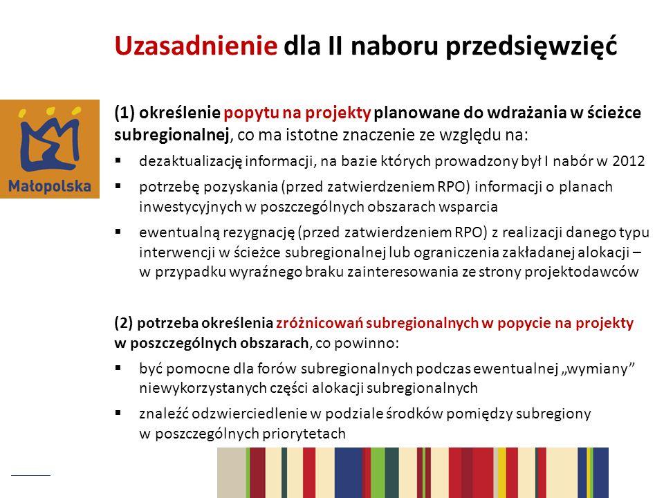 (1) określenie popytu na projekty planowane do wdrażania w ścieżce subregionalnej, co ma istotne znaczenie ze względu na: dezaktualizację informacji,