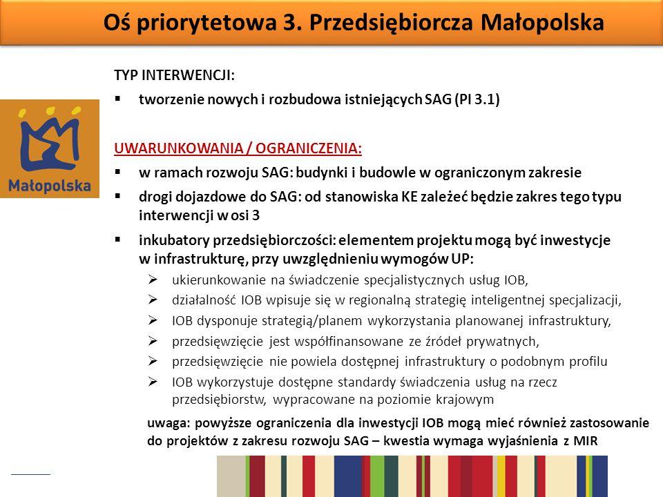 Oś priorytetowa 3. Przedsiębiorcza Małopolska TYP INTERWENCJI: tworzenie nowych i rozbudowa istniejących SAG (PI 3.1) UWARUNKOWANIA / OGRANICZENIA: w