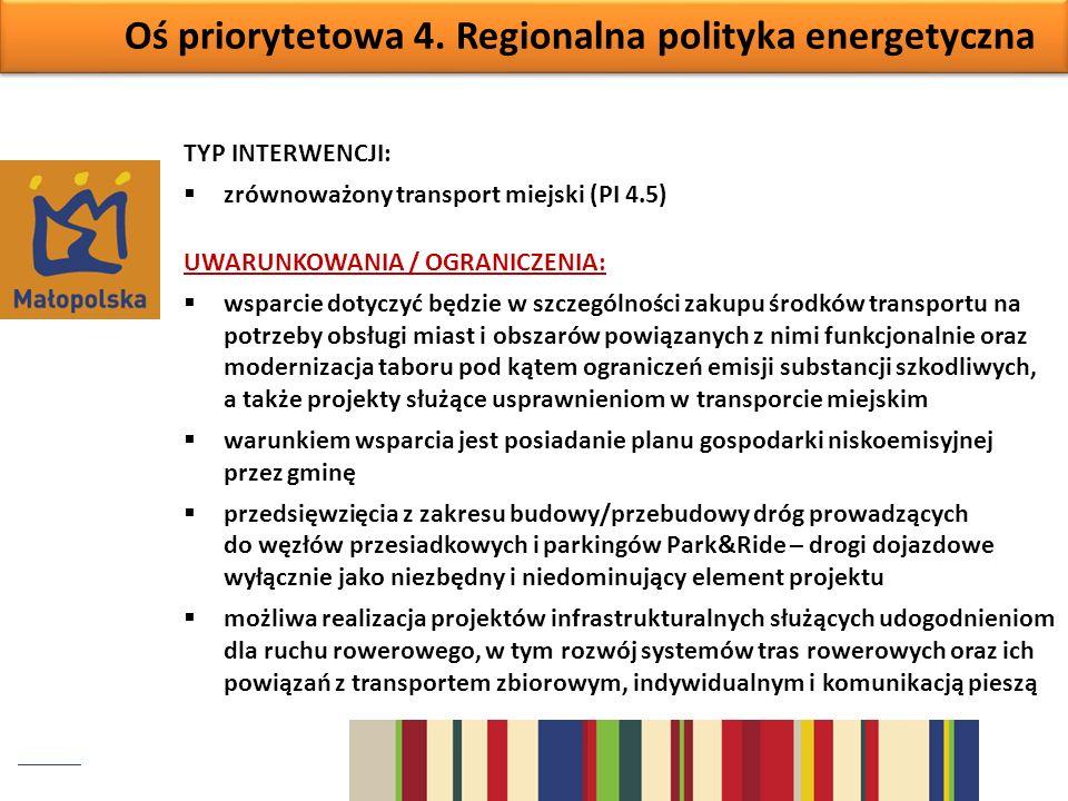 Oś priorytetowa 4. Regionalna polityka energetyczna TYP INTERWENCJI: zrównoważony transport miejski (PI 4.5) UWARUNKOWANIA / OGRANICZENIA: wsparcie do