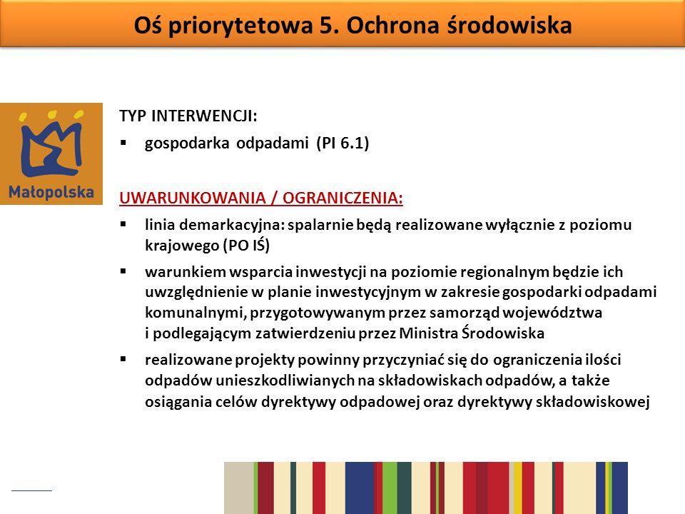 Oś priorytetowa 5. Ochrona środowiska TYP INTERWENCJI: gospodarka odpadami (PI 6.1) UWARUNKOWANIA / OGRANICZENIA: linia demarkacyjna: spalarnie będą r
