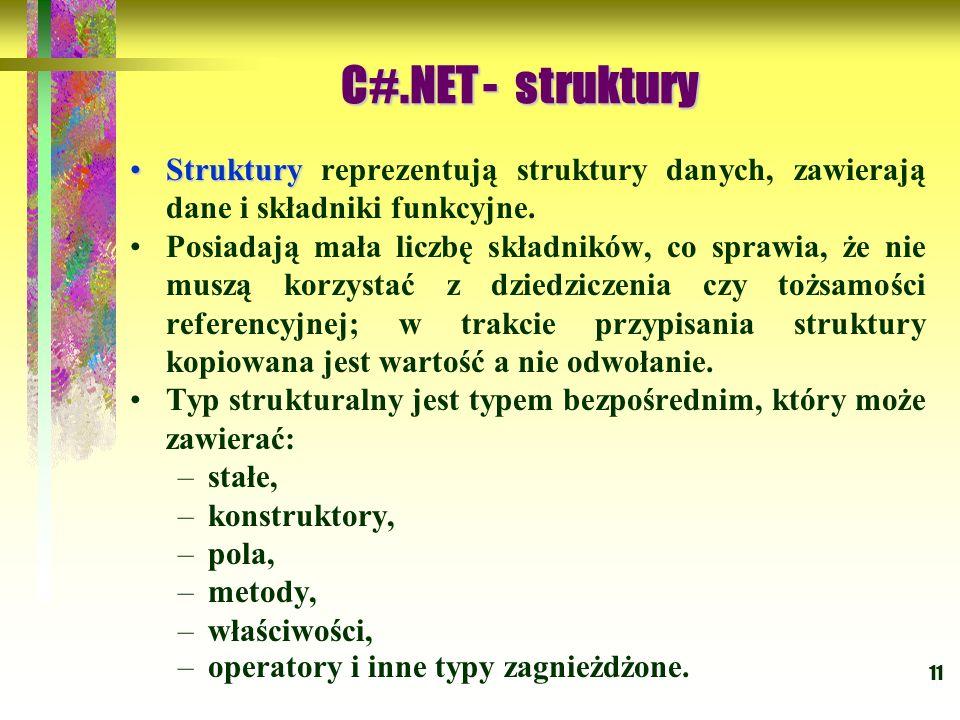 11 StrukturyStruktury reprezentują struktury danych, zawierają dane i składniki funkcyjne. Posiadają mała liczbę składników, co sprawia, że nie muszą