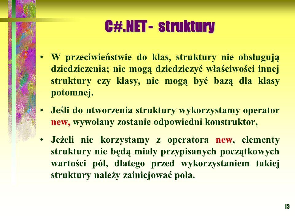 13 W przeciwieństwie do klas, struktury nie obsługują dziedziczenia; nie mogą dziedziczyć właściwości innej struktury czy klasy, nie mogą być bazą dla