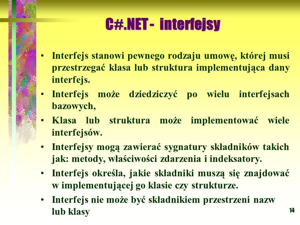 14 Interfejs stanowi pewnego rodzaju umowę, której musi przestrzegać klasa lub struktura implementująca dany interfejs. Interfejs może dziedziczyć po