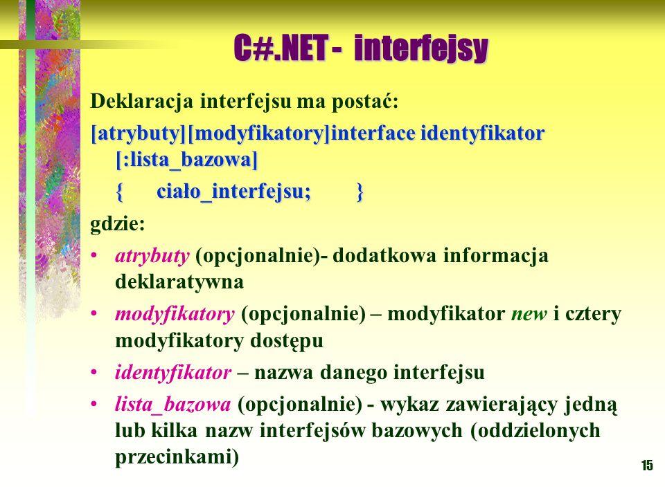 15 Deklaracja interfejsu ma postać: [atrybuty][modyfikatory]interface identyfikator [:lista_bazowa] {ciało_interfejsu;} gdzie: atrybuty (opcjonalnie)-