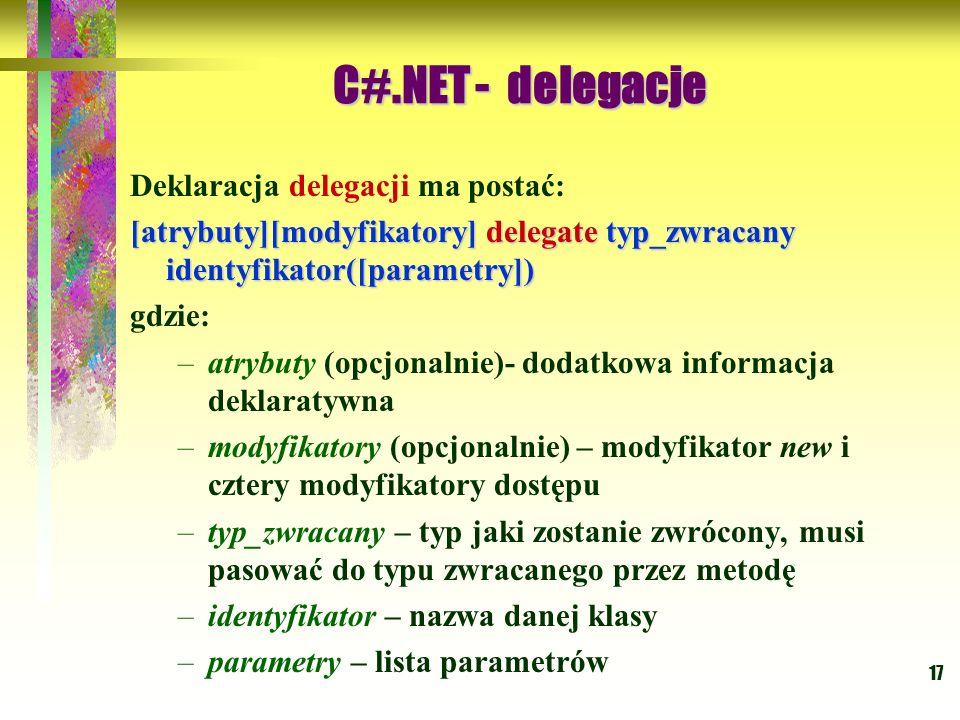17 Deklaracja delegacji ma postać: [atrybuty][modyfikatory] delegate typ_zwracany identyfikator([parametry]) gdzie: –atrybuty (opcjonalnie)- dodatkowa
