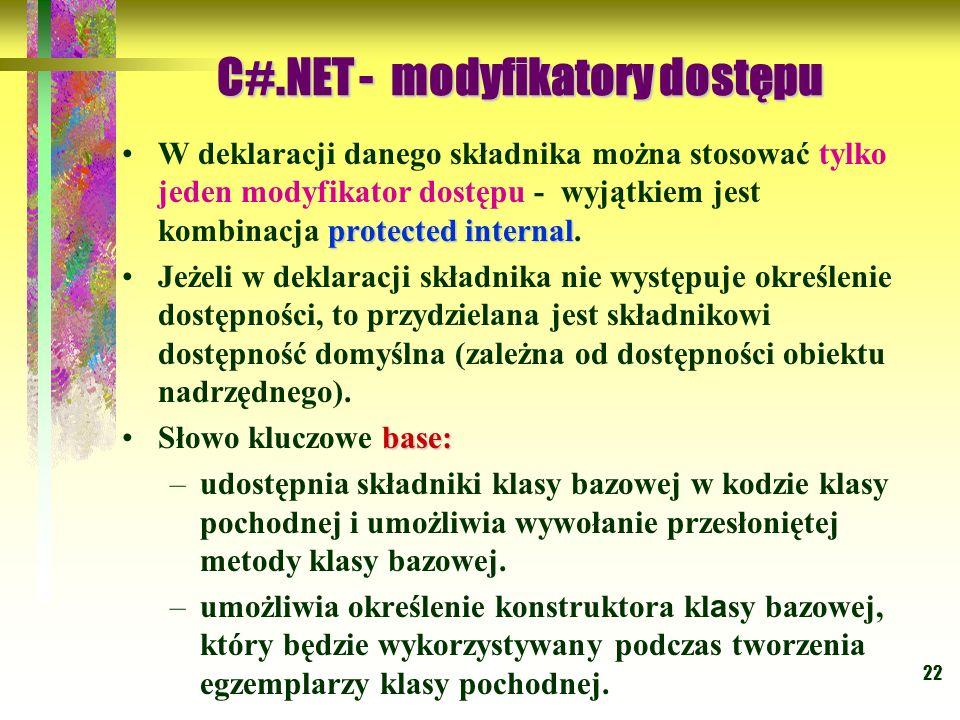 22 protected internalW deklaracji danego składnika można stosować tylko jeden modyfikator dostępu - wyjątkiem jest kombinacja protected internal. Jeże
