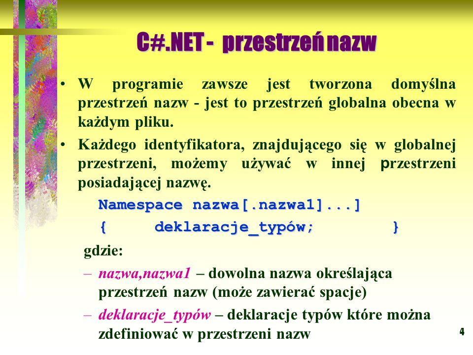 5 Using System; namespace PrzestrzenNazw1 { class Klasa1 {} struct Struktura1 {} interface Interface1 {} delegate int Delegacja(); enum Emulator {} namespace PrzestrzeńNazw2 {} class Klasa2{ public static void Main(string[] args) {}} } Using System; namespace PrzestrzenNazw1 { class Klasa1 {} struct Struktura1 {} interface Interface1 {} delegate int Delegacja(); enum Emulator {} namespace PrzestrzeńNazw2 {} class Klasa2{ public static void Main(string[] args) {}} } C#.NET - szkielet programu