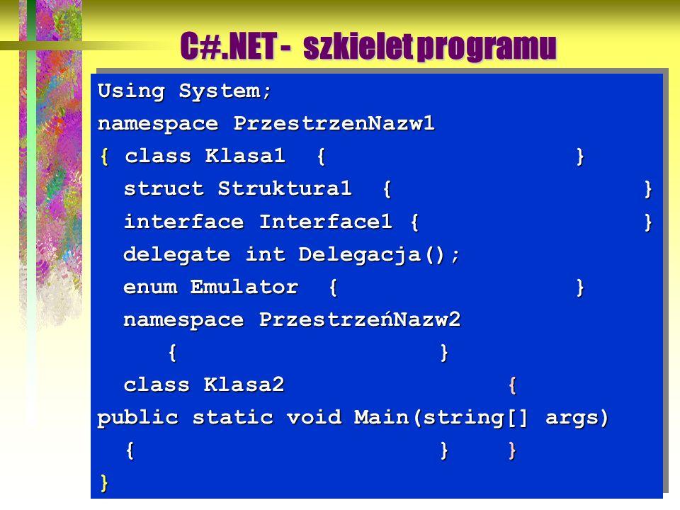 5 Using System; namespace PrzestrzenNazw1 { class Klasa1 {} struct Struktura1 {} interface Interface1 {} delegate int Delegacja(); enum Emulator {} na