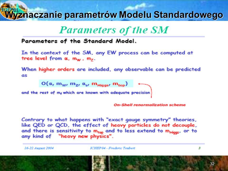 32 Wyznaczanie parametrów Modelu Standardowego