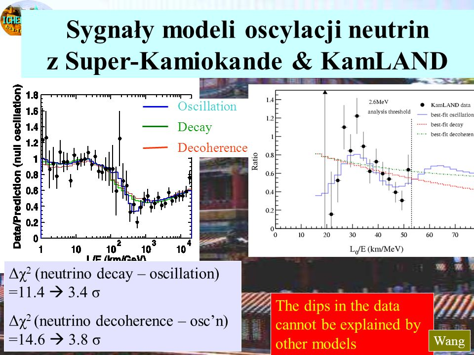 43 The dips in the data cannot be explained by other models Δχ 2 (neutrino decay – oscillation) =11.4 3.4 σ Δχ 2 (neutrino decoherence – oscn) =14.6 3.8 σ Sygnały modeli oscylacji neutrin z Super-Kamiokande & KamLAND Oscillation Decay Decoherence Wang