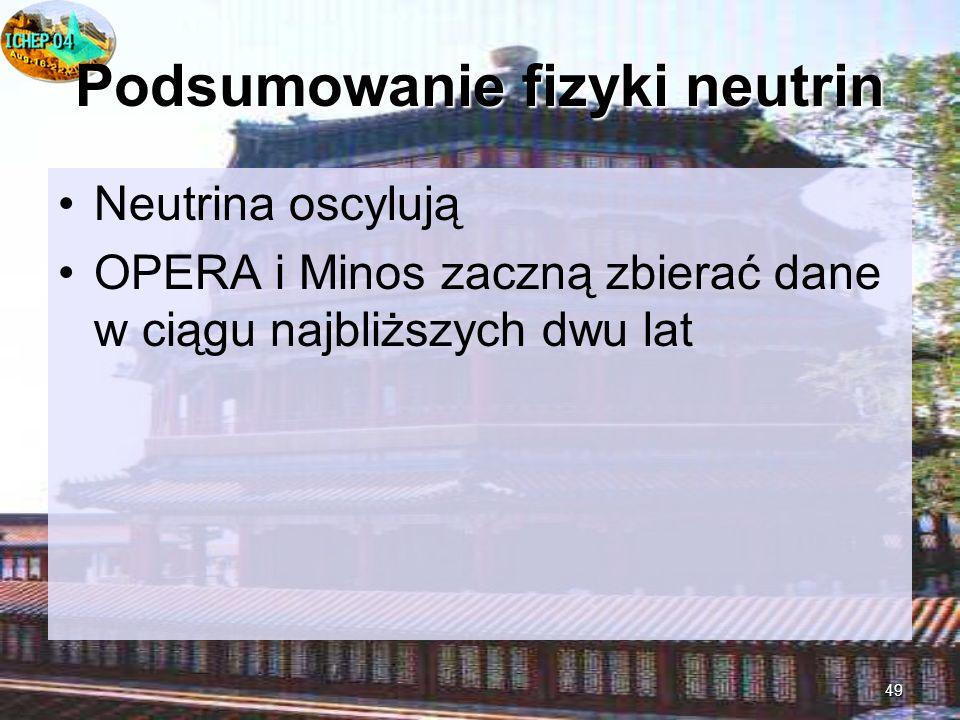 49 Podsumowanie fizyki neutrin Neutrina oscylują OPERA i Minos zaczną zbierać dane w ciągu najbliższych dwu lat