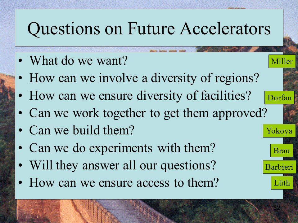 52 Questions on Future Accelerators What do we want.