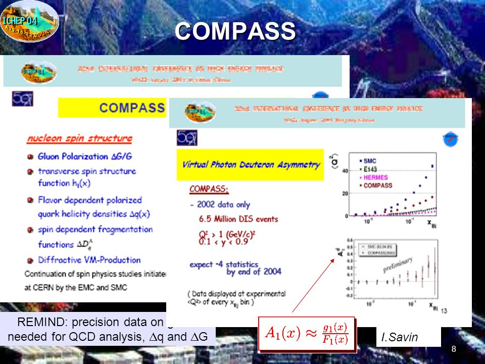 8COMPASS REMIND: precision data on g 1 are needed for QCD analysis, q and G I.Savin