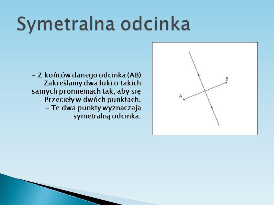 - Z końców danego odcinka (AB) Zakreślamy dwa łuki o takich samych promieniach tak, aby się Przecięły w dwóch punktach. - Te dwa punkty wyznaczają sym