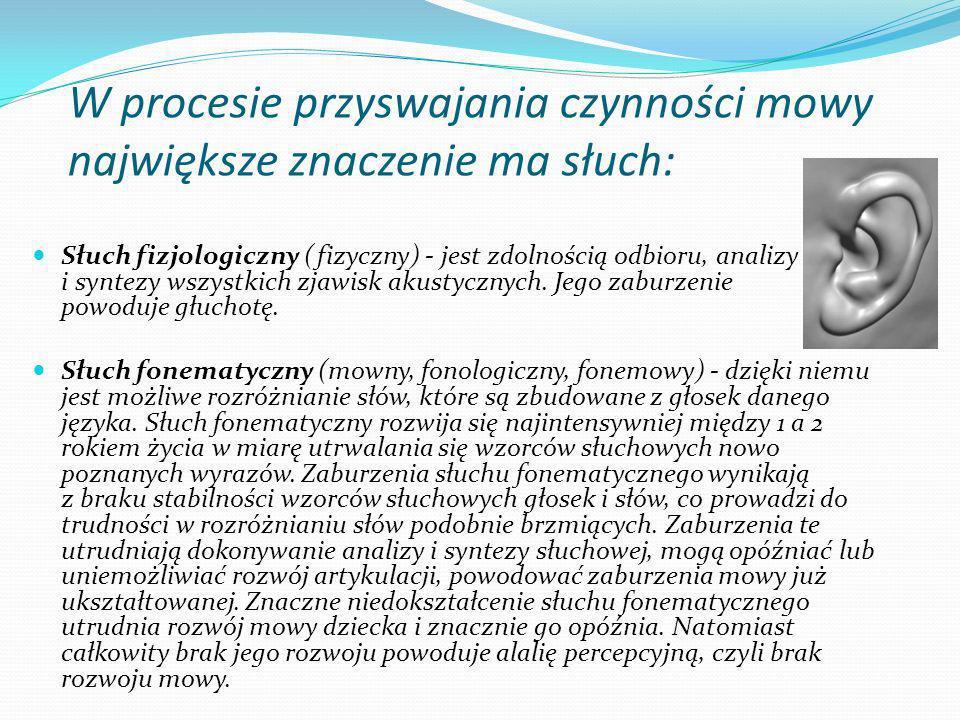 W procesie przyswajania czynności mowy największe znaczenie ma słuch: Słuch fizjologiczny (fizyczny) - jest zdolnością odbioru, analizy i syntezy wszystkich zjawisk akustycznych.