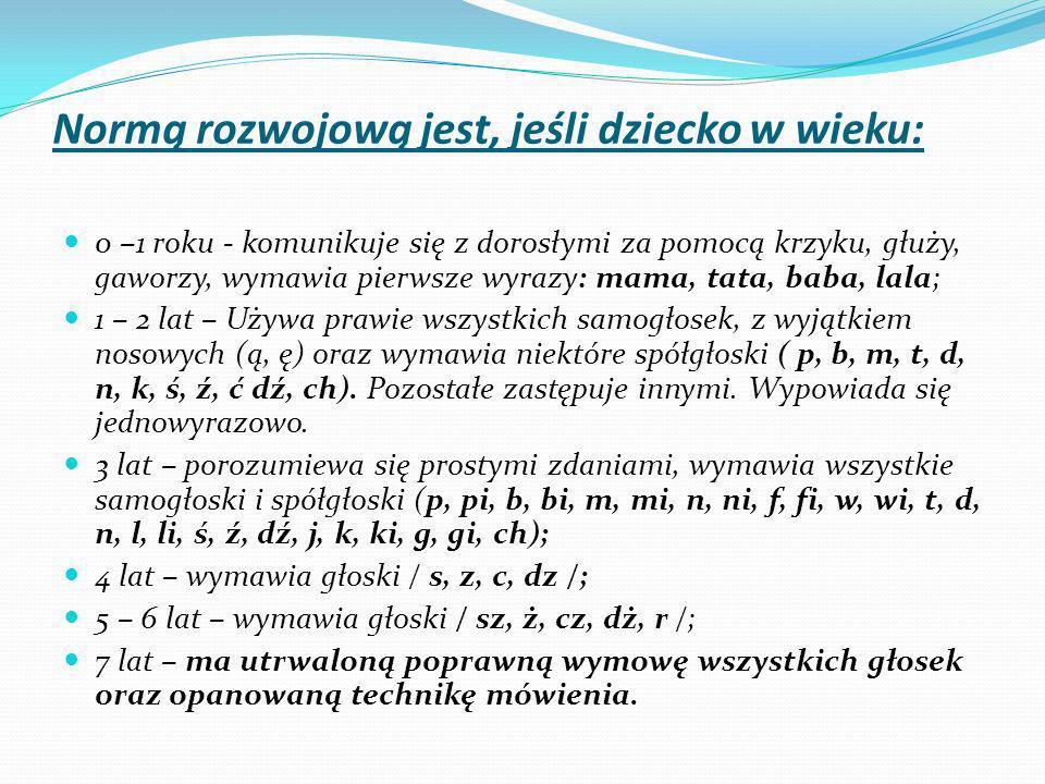 Normą rozwojową jest, jeśli dziecko w wieku: 0 –1 roku - komunikuje się z dorosłymi za pomocą krzyku, głuży, gaworzy, wymawia pierwsze wyrazy: mama, tata, baba, lala; 1 – 2 lat – Używa prawie wszystkich samogłosek, z wyjątkiem nosowych (ą, ę) oraz wymawia niektóre spółgłoski ( p, b, m, t, d, n, k, ś, ź, ć dź, ch).