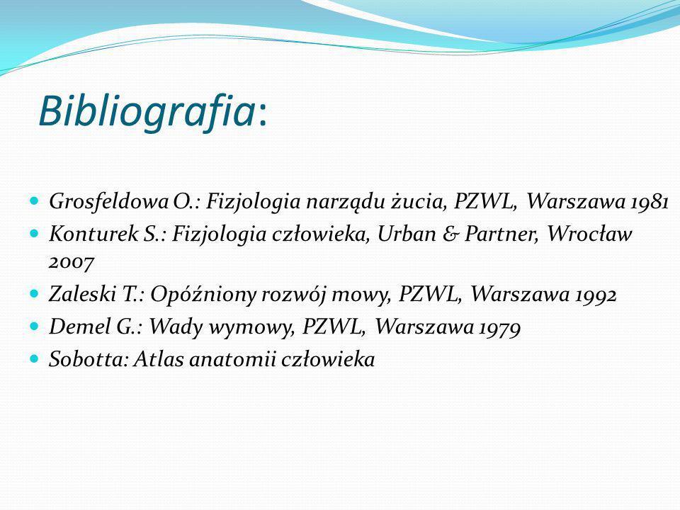 Bibliografia: Grosfeldowa O.: Fizjologia narządu żucia, PZWL, Warszawa 1981 Konturek S.: Fizjologia człowieka, Urban & Partner, Wrocław 2007 Zaleski T.: Opóźniony rozwój mowy, PZWL, Warszawa 1992 Demel G.: Wady wymowy, PZWL, Warszawa 1979 Sobotta: Atlas anatomii człowieka