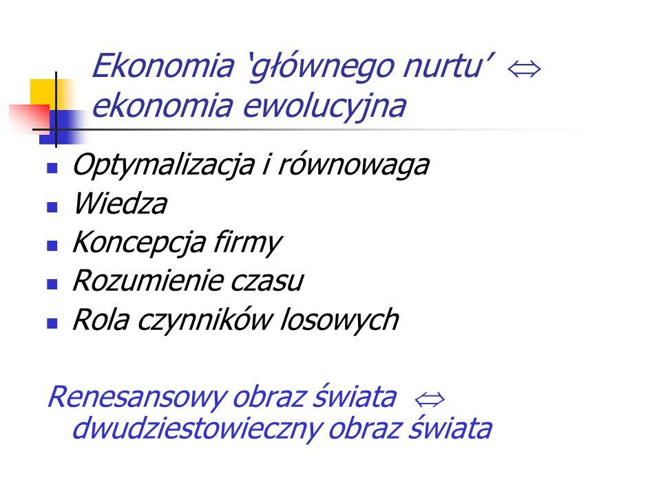 Ekonomia głównego nurtu ekonomia ewolucyjna Optymalizacja i równowaga Wiedza Koncepcja firmy Rozumienie czasu Rola czynników losowych Renesansowy obra