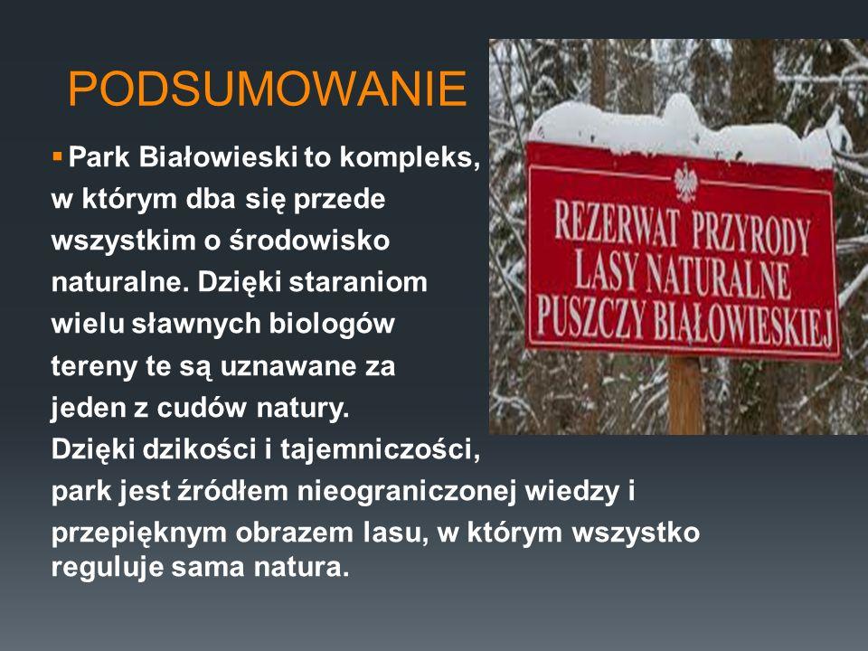 PODSUMOWANIE Park Białowieski to kompleks, w którym dba się przede wszystkim o środowisko naturalne. Dzięki staraniom wielu sławnych biologów tereny t
