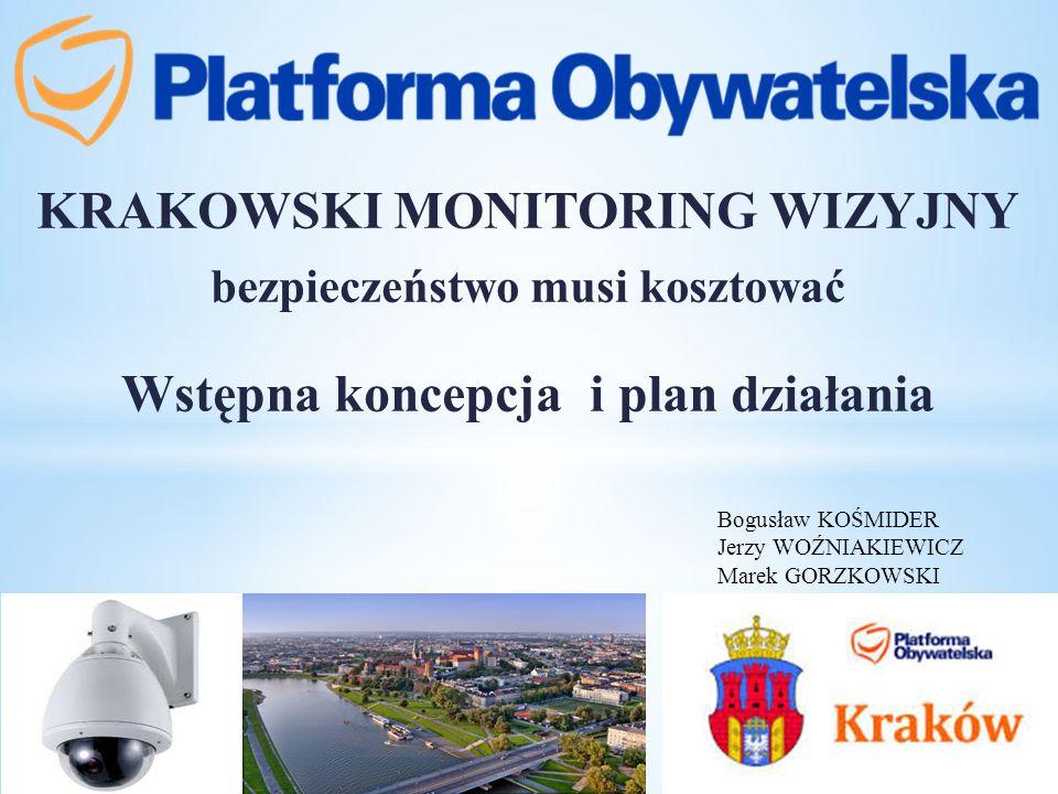 KRAKOWSKI MONITORING WIZYJNY bezpieczeństwo musi kosztować Wstępna koncepcja i plan działania Bogusław KOŚMIDER Jerzy WOŹNIAKIEWICZ Marek GORZKOWSKI
