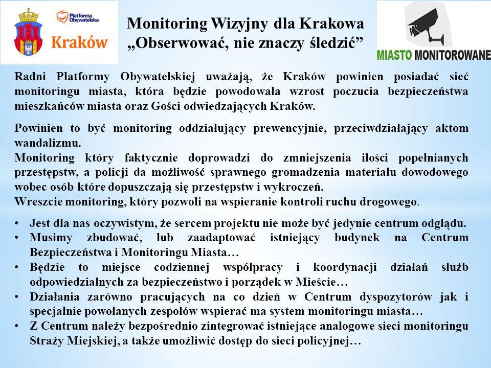 Monitoring Wizyjny dla Krakowa Obserwować, nie znaczy śledzić Radni Platformy Obywatelskiej uważają, że Kraków powinien posiadać sieć monitoringu mias