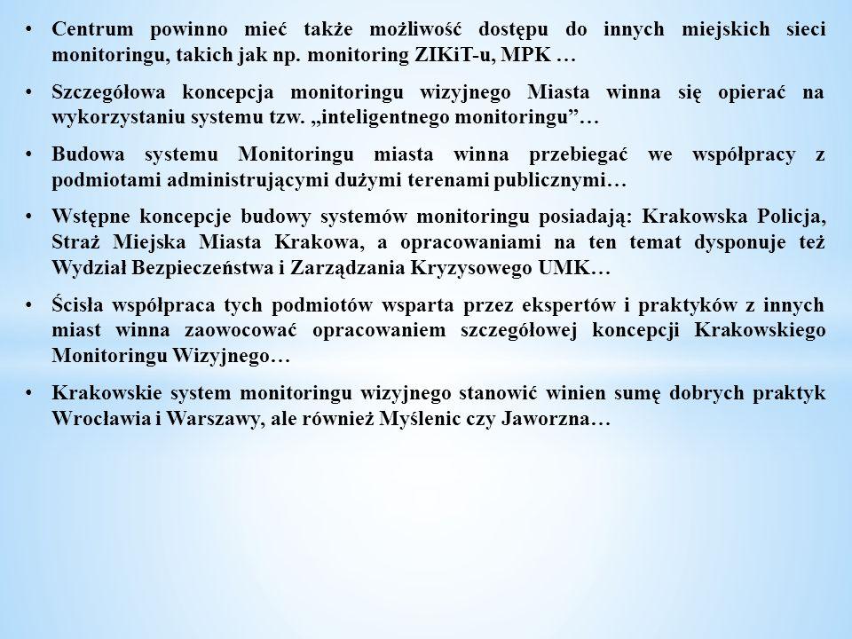 Centrum powinno mieć także możliwość dostępu do innych miejskich sieci monitoringu, takich jak np. monitoring ZIKiT-u, MPK … Szczegółowa koncepcja mon