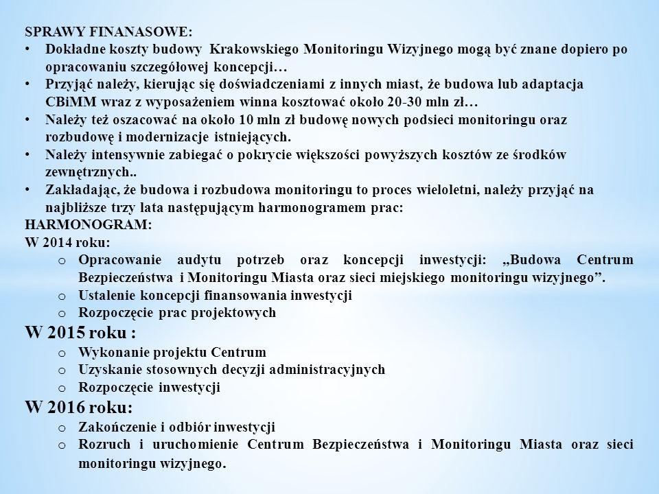 SPRAWY FINANASOWE: Dokładne koszty budowy Krakowskiego Monitoringu Wizyjnego mogą być znane dopiero po opracowaniu szczegółowej koncepcji… Przyjąć nal