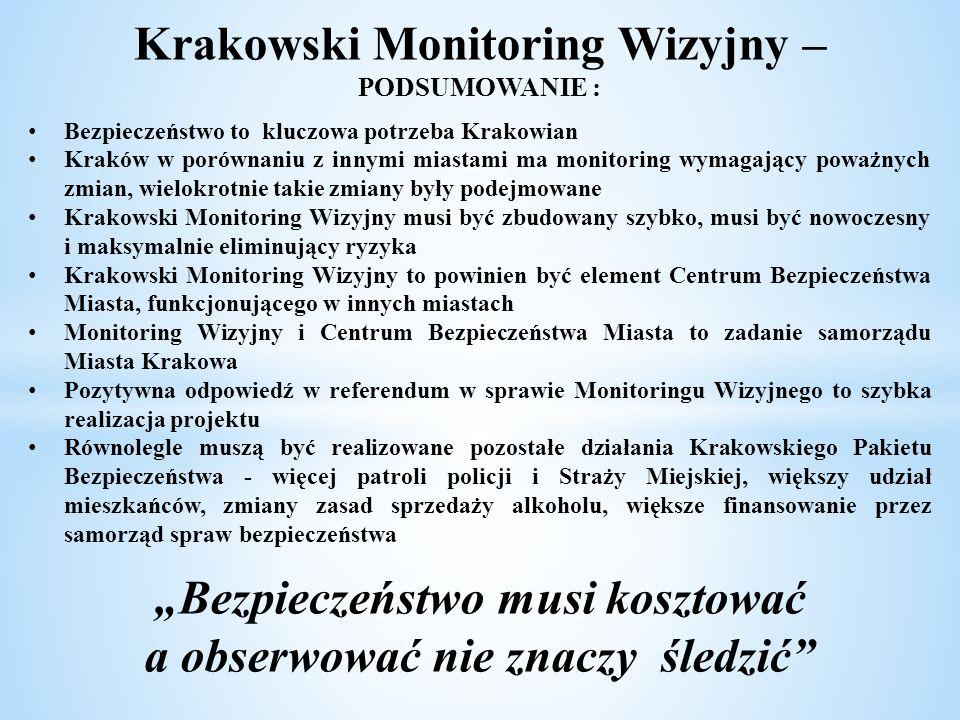 Krakowski Monitoring Wizyjny – PODSUMOWANIE : Bezpieczeństwo to kluczowa potrzeba Krakowian Kraków w porównaniu z innymi miastami ma monitoring wymaga