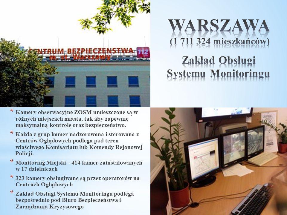 * Kamery obserwacyjne ZOSM umieszczone są w różnych miejscach miasta, tak aby zapewnić maksymalną kontrolę oraz bezpieczeństwo. * Każda z grup kamer n