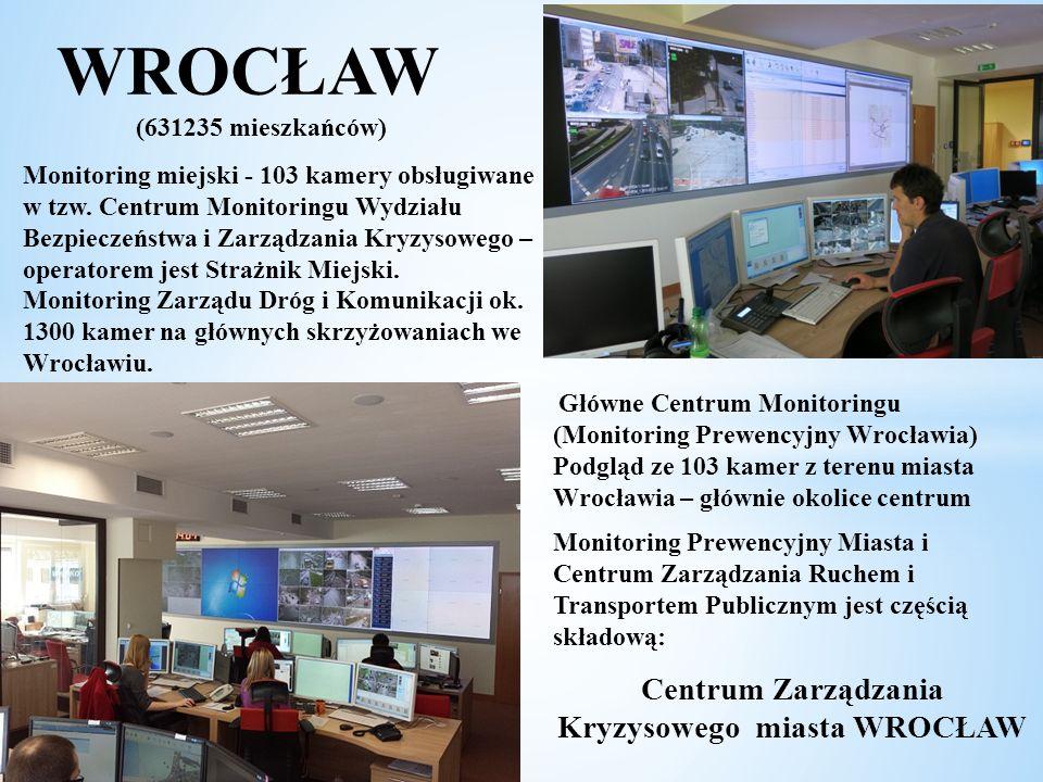 WROCŁAW (631235 mieszkańców) Monitoring miejski - 103 kamery obsługiwane w tzw. Centrum Monitoringu Wydziału Bezpieczeństwa i Zarządzania Kryzysowego