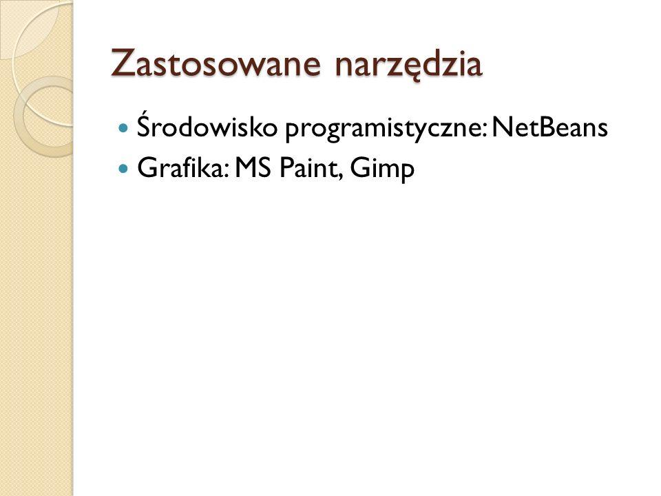 Zastosowane narzędzia Środowisko programistyczne: NetBeans Grafika: MS Paint, Gimp