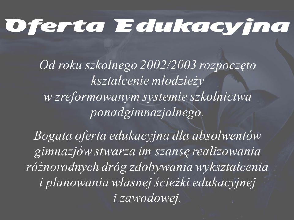 Oferta Edukacyjna Nowe typy szkół ponadgimnazjalnych funkcjonują od 1 września 2002 r., a uzupełniające licea ogólnokształcące i technika uzupełniające ruszyły od 1 września 2004 r.